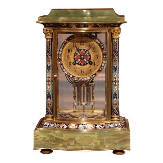 19th Century French Green Onyx Gilt Bronze and Champleve Enamel Table Clock For Sale