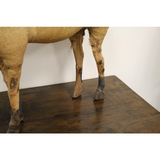 Burlap Wrapped Horse with Carved Wooden Head and Legs For Sale - Image 4 of 8