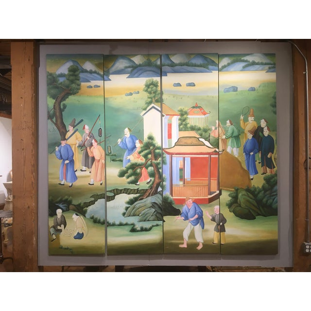 Chinoiserie Chinoiserie Mural Painting on Panels For Sale - Image 3 of 13