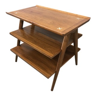 American of Martinsville 3-Tier Walnut Table