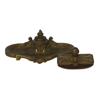 Bronze Gilt Louis XVI Style Desk Blotter and Inkstand Inkwell by O. Lelievre c 1900 Women's Mask Face For Sale