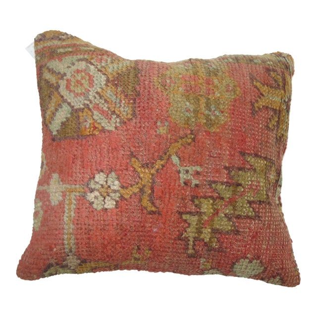 Antique Oushak Rug Pillow - Image 1 of 3