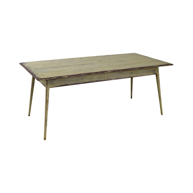 Custom Distressed Antique White Farmhouse Dining Table - Image 1 of 10