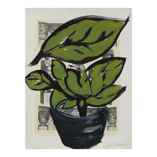 """Plant and Pot I"" Still Life in Gouache, 2017"