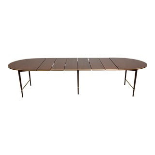 "Paul McCobb Mahogany and Brass 128"" Dining Table For Sale"