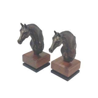 Brutalist Horse Bust and Teak Bookends - A Pair For Sale
