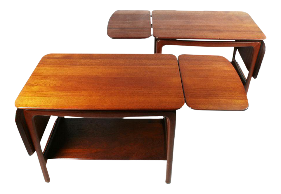 Sophisticated Pair Of Drop Leaf Side Tables By Peter Hvidt Decaso