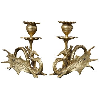 Pair of 19th Century Victorian Winged Dragon Brass Candleholders For Sale