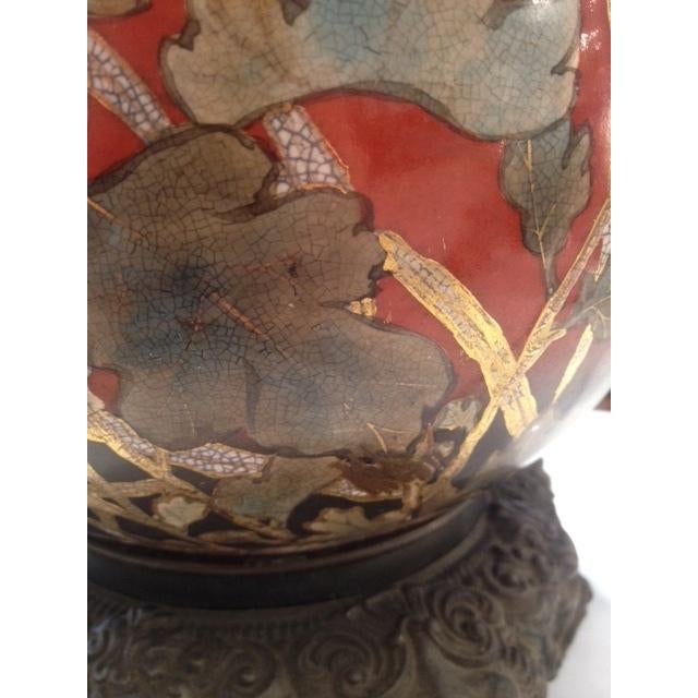 Vintage Asian Hand Painted Ceramic Gord Lamp - Image 4 of 11