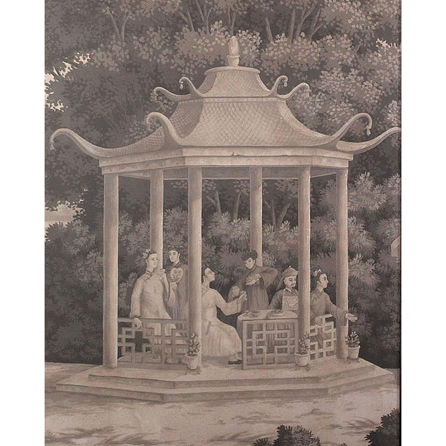 Large Scale Triptych of Idyllic Scenes of Ancient China, Paintings in Brunaille, Jardins en Fleur Showroom Samples For Sale In Los Angeles - Image 6 of 9