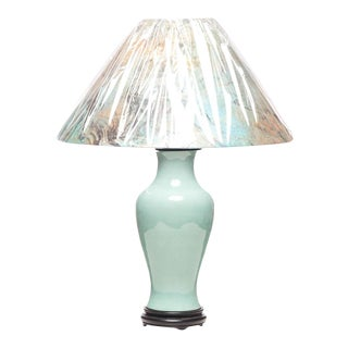 Asian Modern Lawrence & Scott Aqua Blue Baluster Table Lamp With Wood Base and Fusuma Paper Patterned Shade For Sale
