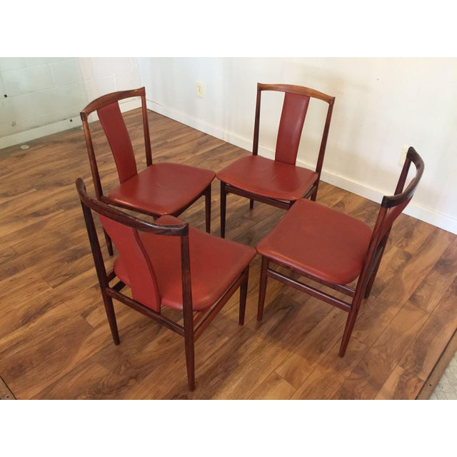 Henning Sorensen Rosewood & Leather Dining Chairs - Set of 4 - Image 8 of 11