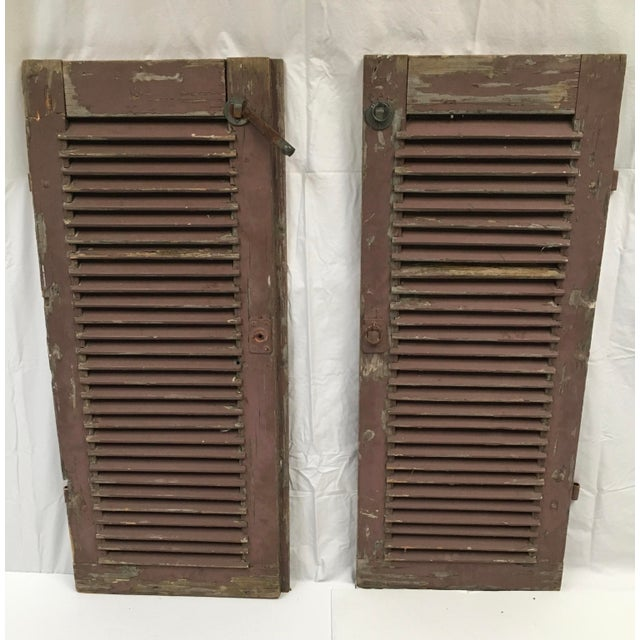 Antique French Painted Shutters - A Pair For Sale In Dallas - Image 6 of 10
