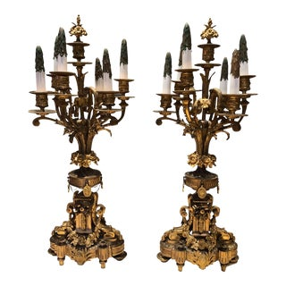 Antique French Neoclassical-Style Seven-Light Candelabras - a Pair For Sale
