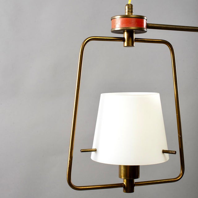 1960s Mid Century Stilnovo Chandelier With Frosted Glass Shades For Sale - Image 5 of 12
