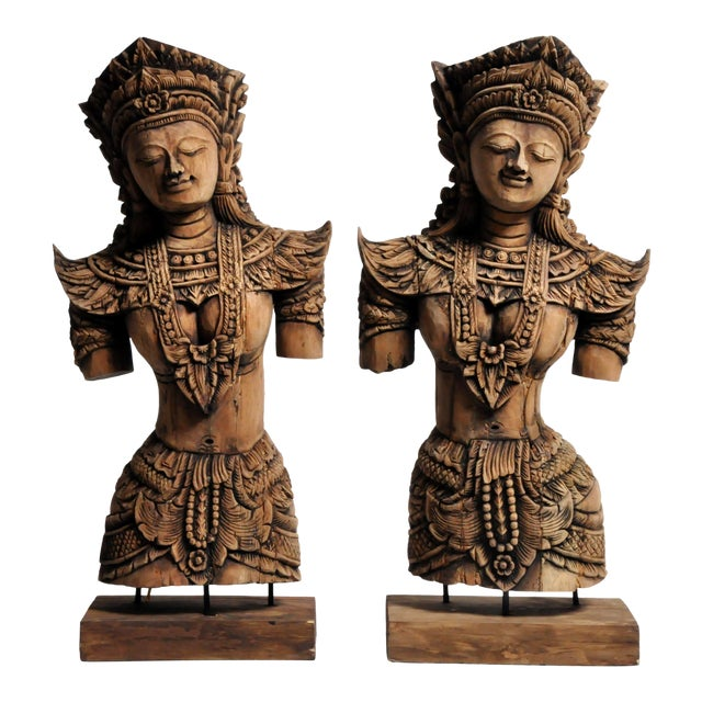 Asian Southeast Asian Wood Carving Model of a Goddess For Sale - Image 3 of 13