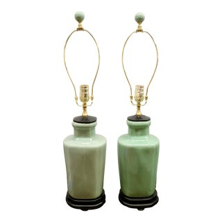 Pair of Green Lamps For Sale