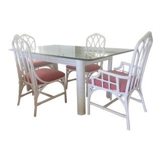 Henry Link White Bamboo Rattan Dining Room Set For Sale