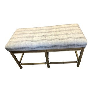 Vintage Natural Faux Bamboo Bench With Turkish Textile Seat For Sale