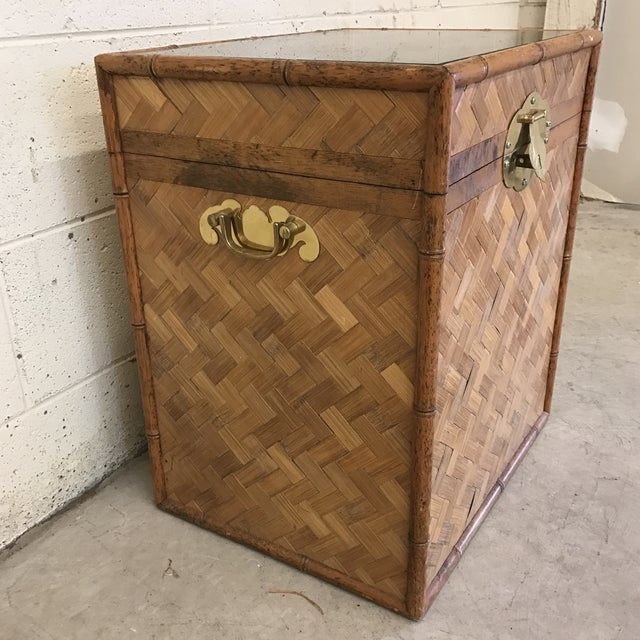 Bamboo & Herringbone Parquet Trunk Chest For Sale - Image 4 of 11