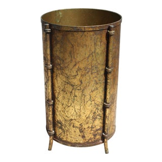 Hollywood Regency Italian Gilt Faux Bamboo Wastebasket / Trash Can / Umbrella Stand / Planter