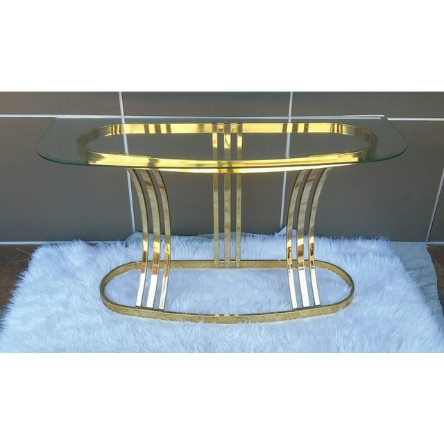 Contemporary Milo Baughman DIA Brass & Glass Sofa Table For Sale - Image 3 of 5