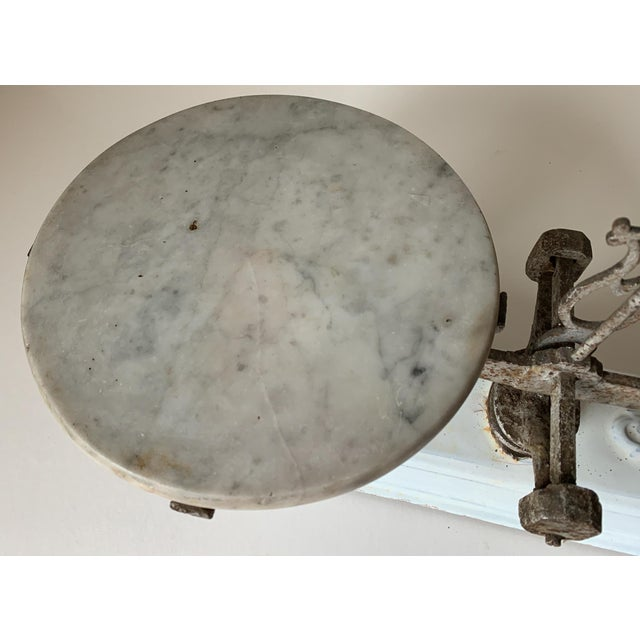 Metal Antique 1920s Iron and Marble Balance Scale For Sale - Image 7 of 10