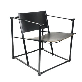 Black Leather Fm62 Cube Chair by Radboud Van Beekum for Pastoe For Sale