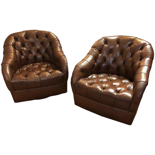 1970s Mid-Century Modern Tufted Leather Swivel Club Chairs - a Pair For Sale