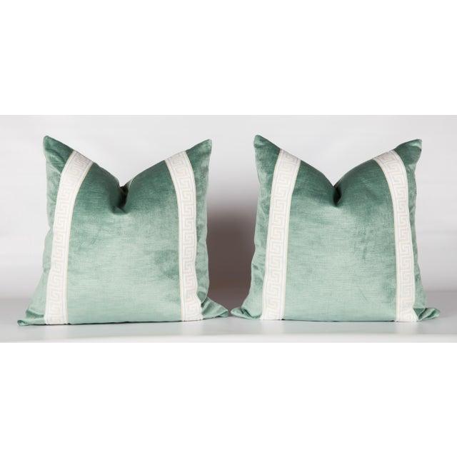 Greek Key Green Velvet Pillows - A Pair For Sale - Image 4 of 4