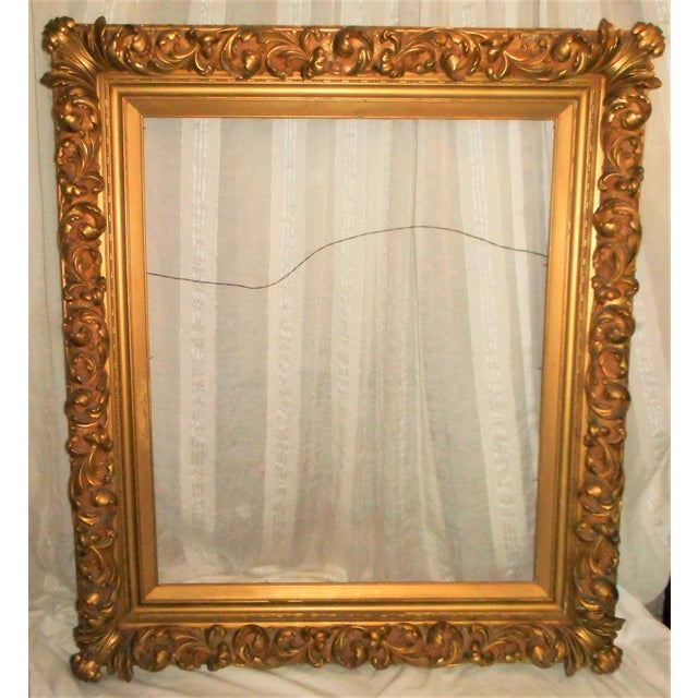 18th - 19th Century Louis XIV Ornate Gold Leaf Picture Frame | Chairish