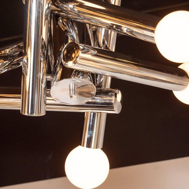 Mid-Century Modern Sculptural Chrome and Frosted Glass Chandelier by Sciolari For Sale In New York - Image 6 of 8
