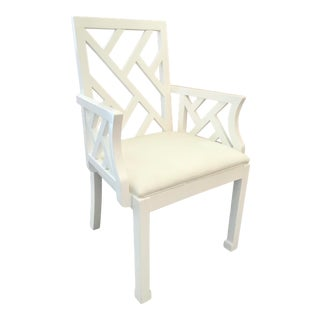 Vintage White Chippendale Arm Chair in White Lacquer For Sale