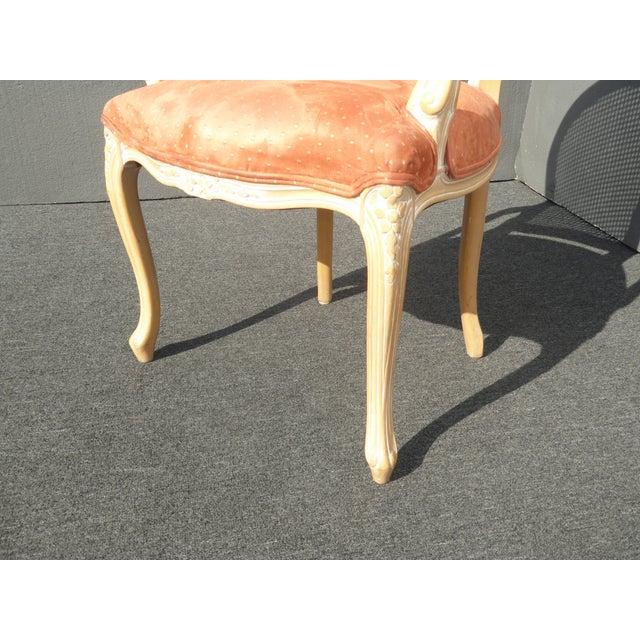 Orange Vintage French Provincial Cane Back Off White Accent Chair W Peach Fabric For Sale - Image 8 of 11