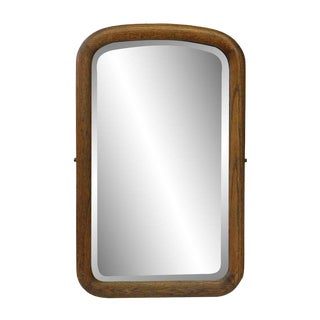 Arched Beveled Mirror With Wood Frame For Sale