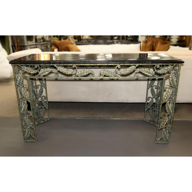 Traditional Maitland Smith Marble Top Iron Console Table For Sale - Image 13 of 13