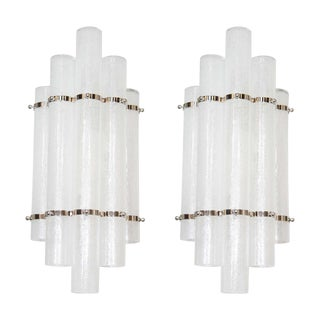 Pair of Mid-Century Modern Pulegoso Glass Tubular Sconces with Nickel Fittings For Sale