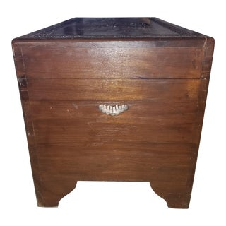 Asian Carved Wooden Chest For Sale