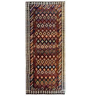 Early 20th Century Shahsavan Kilim Runner Rug - 4′4″ × 8′6″ For Sale