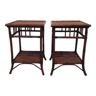 Boho Chic Pottery Barn Side Tables - a Pair For Sale