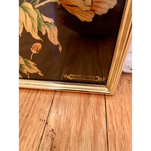 Metal LaBarge Chinoiserie Style Eglomise Black Mirror For Sale - Image 7 of 10