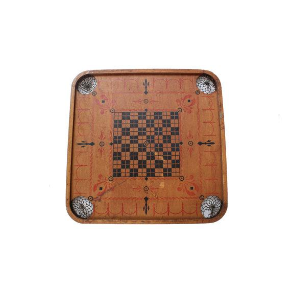 Lodge Antique Wooden Two-Sided Carrom Chess Checkers Game Board For Sale - Image 3 of 3