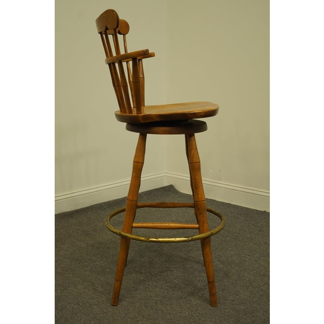 Brown Late 20th Century S Bent Bros. Gardener Solid Maple Swivel Bar Stool For Sale - Image 8 of 13