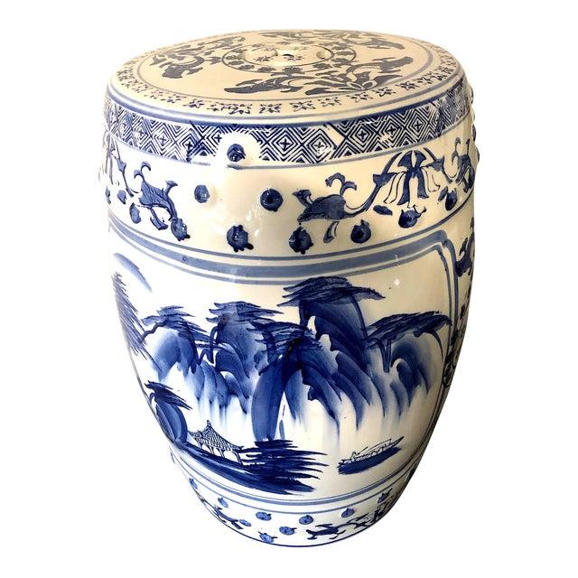 Chinese Blue/White Porcelain Garden Stool For Sale