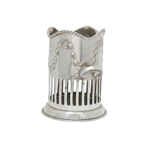 Cottage Antique English Silver-Plate Wine Caddy For Sale - Image 3 of 5