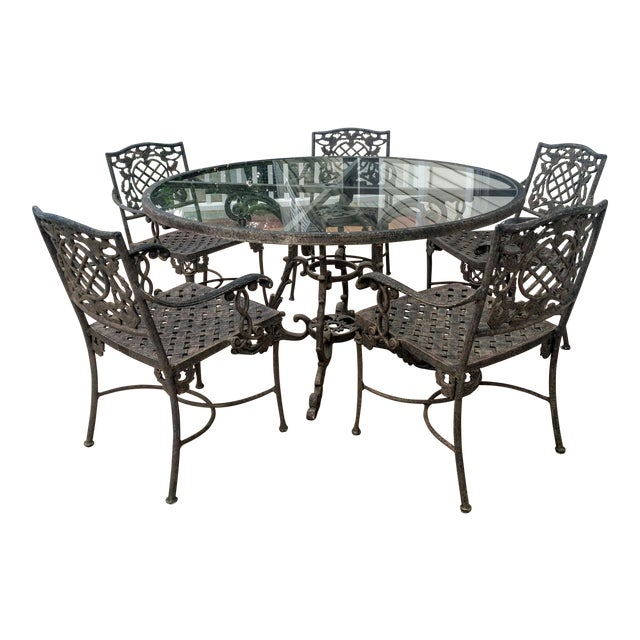 Cast Classics Outdoor Table & Arm Chairs - Set of 6 - Image 1 of 11