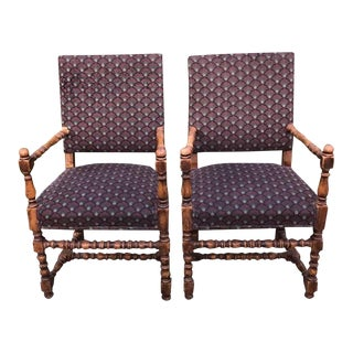 Antique Jacobean Chairs Pegged With Bulbous Turnings - a Pair For Sale