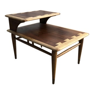 Mid-Century Modern Refinished Lane Acclaim Walnut Step End Table