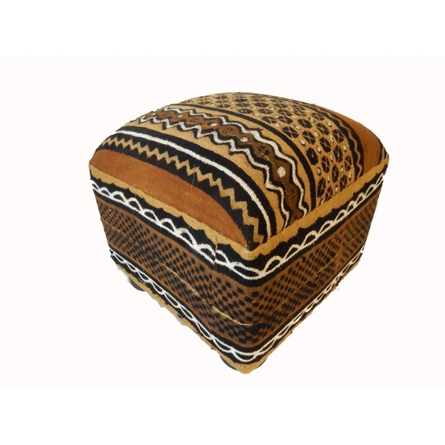African African Malian Mud Cloth Bogolan Textile Ottoman For Sale - Image 3 of 6