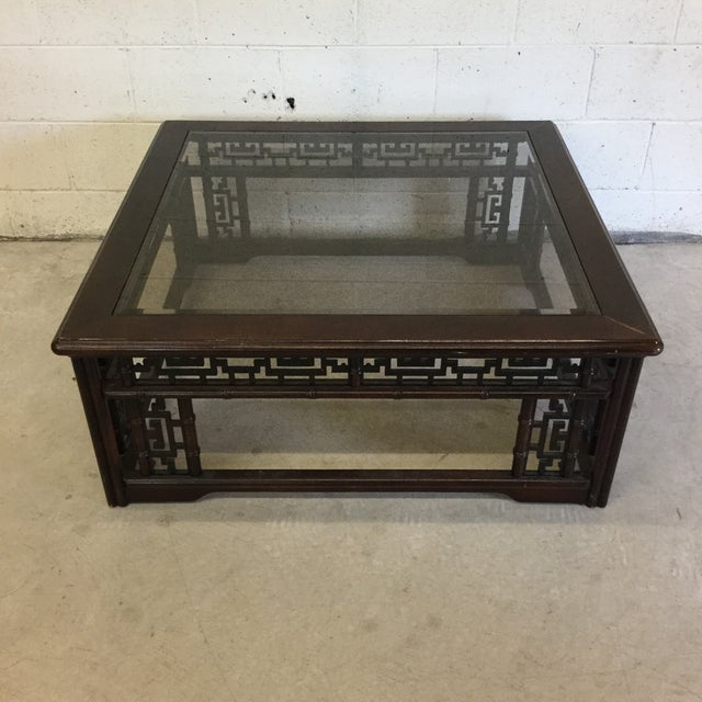 Mahogany Asian Style Glass Top Coffee Table For Sale - Image 10 of 10
